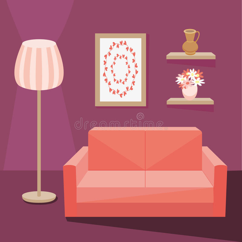 Red sofa in living room stock vector. Illustration of decor - 72754281