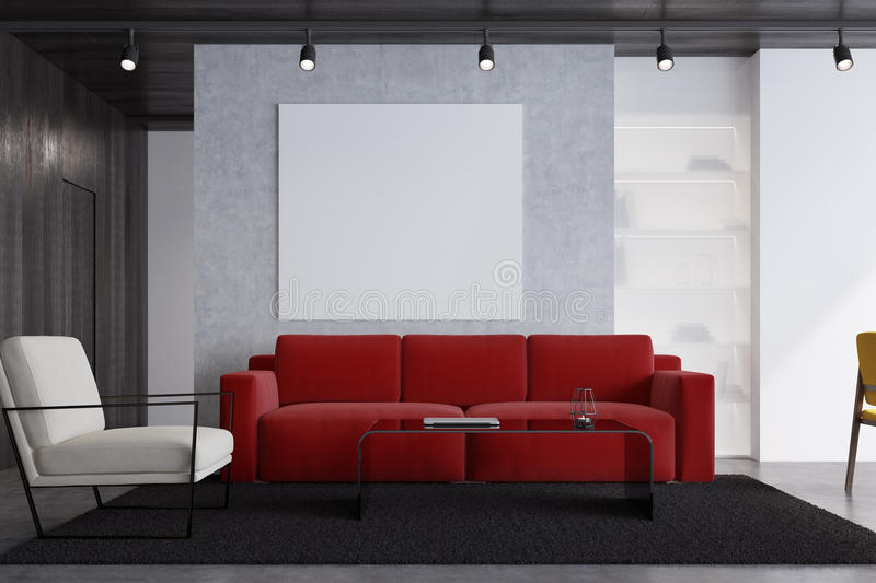 Red sofa living room with a poster, close up. Concrete living room interior with a red sofa, a white armchair, a square poster, a modern coffee table and a vector illustration