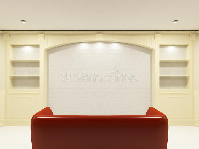 Download Red Sofa With Place On The Wall Stock Illustration - Image: 10868837