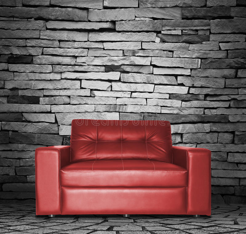 Red sofa. In the room stock photography