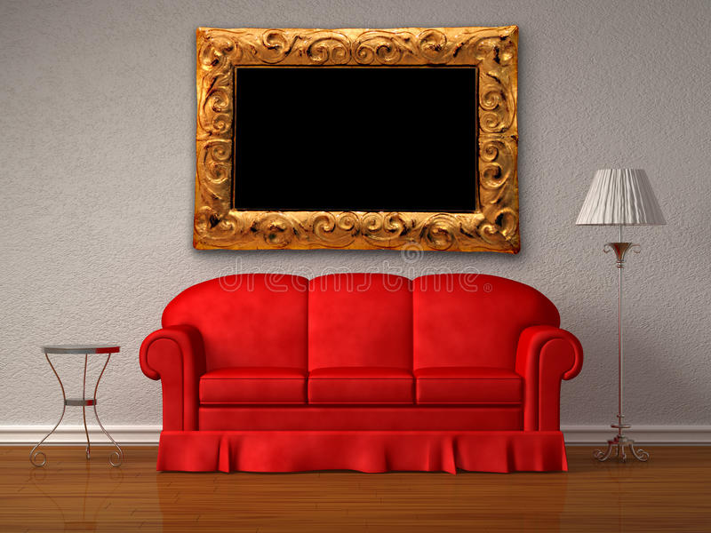 Download Red Sofa,  Table And Lamp With Antique Frame Royalty Free Stock Photography - Image: 17858367