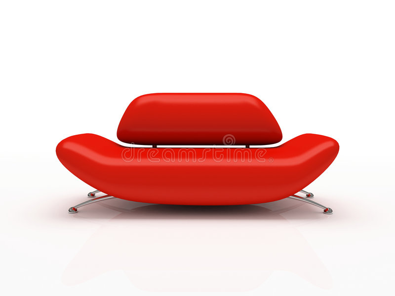 Red sofa on white background royalty free illustration