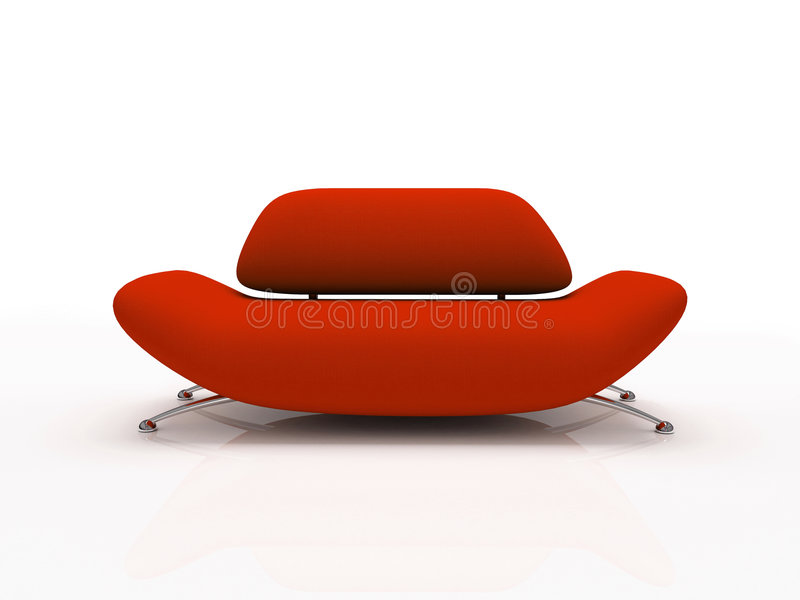 Red sofa on white background insulated stock illustration