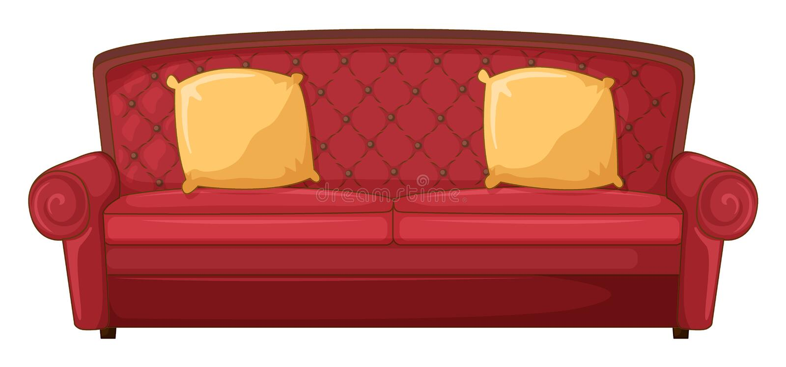 A Red Sofa And Yellow Cushions Stock Illustration Image 33693125