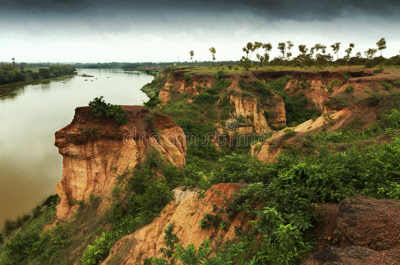 Red soil of gongoni, West Benga, India. Gongoni, called grand canyon of west bengal, gorge of red soil, India stock image