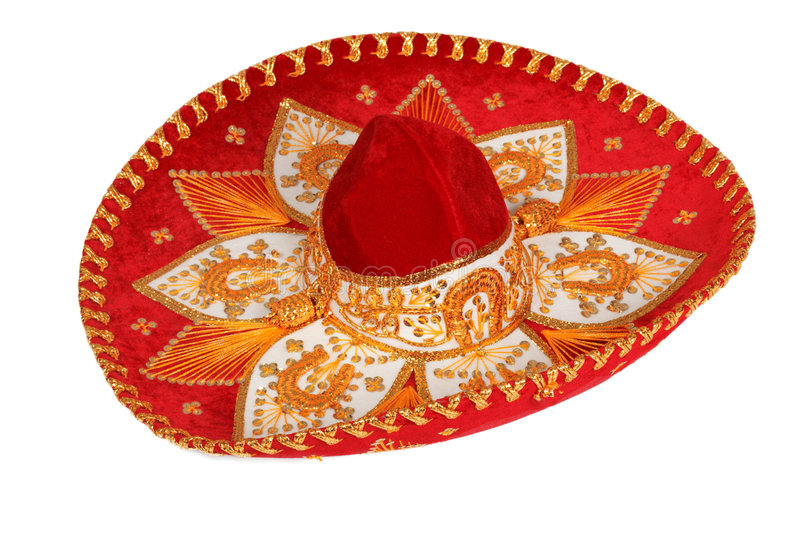 Red sombrero isolated royalty free stock photography