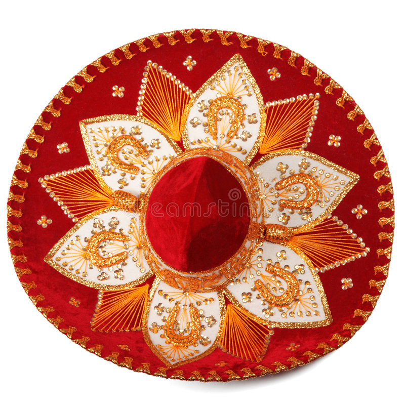 Red sombrero isolated stock image
