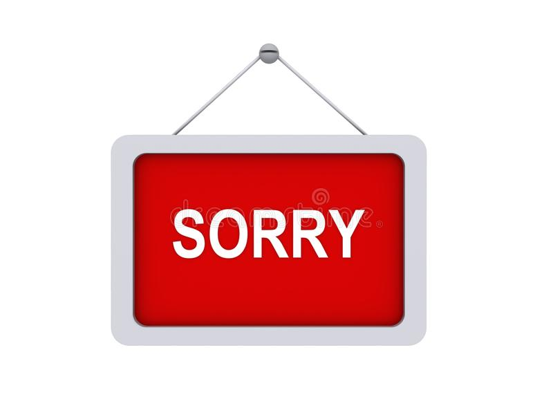 Red sorry sign. Suspended red sorry sign isolated on a white background royalty free illustration