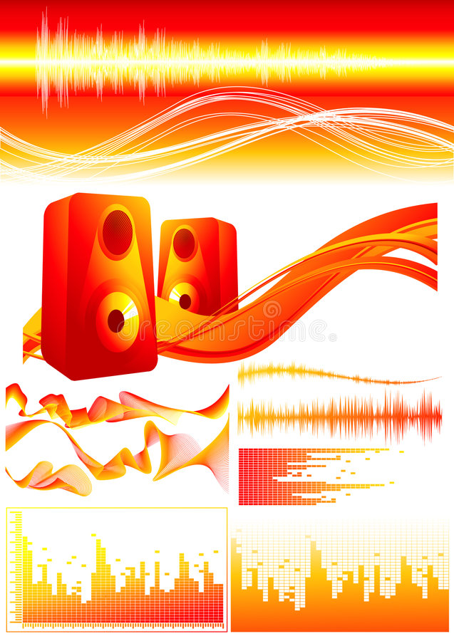 Download Red_sound_elements stock vector. Image of nightclub, record - 6481701