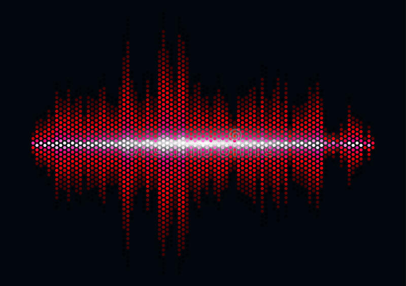 Red sound waveform with hex grid light filter. Red shiny sound waveform with hex grid light filter royalty free illustration