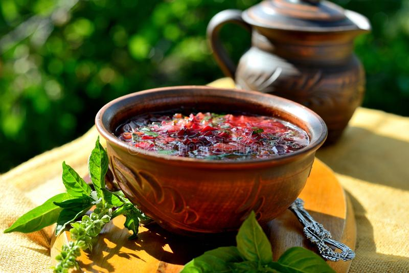 Red soup `borscht` stock image