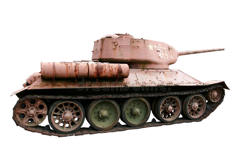 Download Red Soviet Battle Tank T-34 Isolated On White Stock Image - Image of armed, machine: 12189727