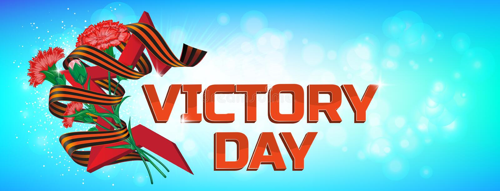 Red soviet star with carnation bouquet and Saint George ribbon to 9 May Victory Day Russian national holiday celebration greeting royalty free stock image