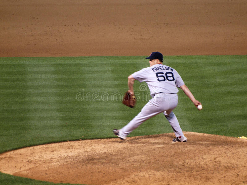Download Red Sox Closer Jonathan Papelbon Steps To Throws A Pitch Editorial Photography - Image of base, field: 30442257