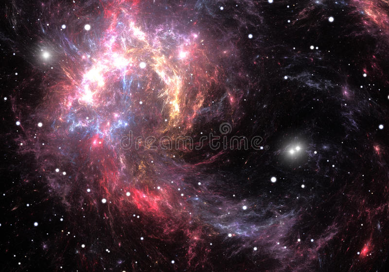 Red space nebula. Space background and stars with red nebula vector illustration