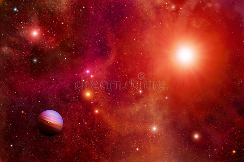 Red Sun Space and planets stock illustration