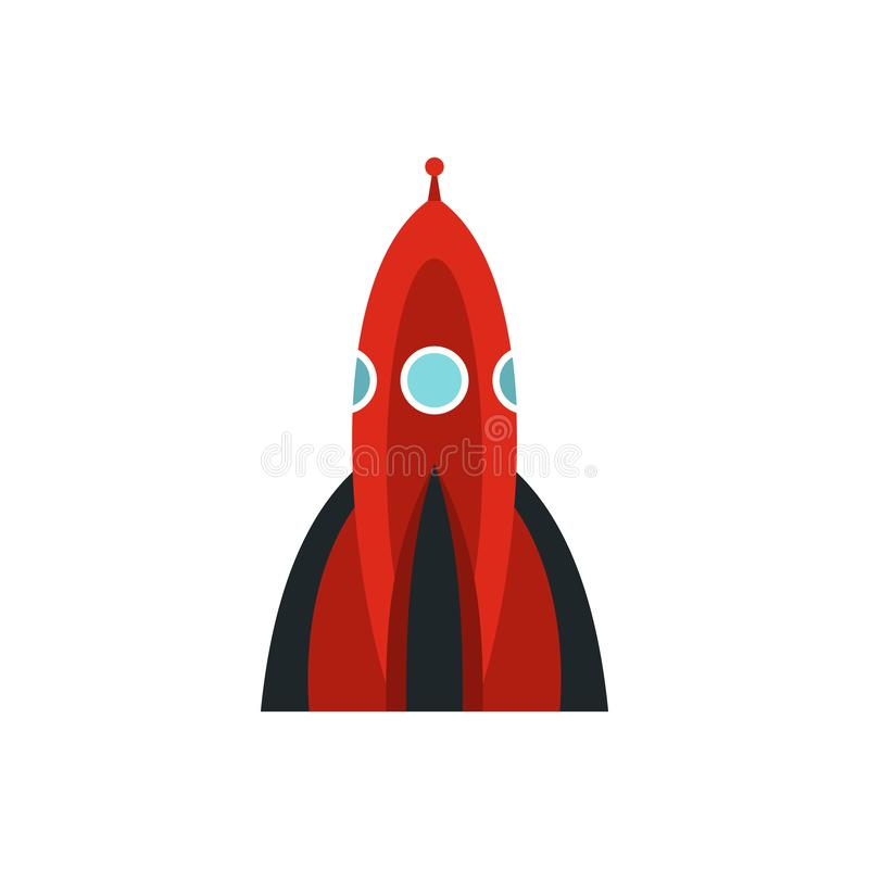 Red space shuttle icon, flat style stock illustration