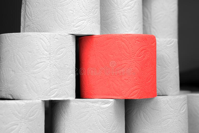 Red special roll of toilet paper among the usual gray rolls of toilet paper. Elite toilet paper for the chosen ones. Red special roll of elite toilet paper royalty free stock images
