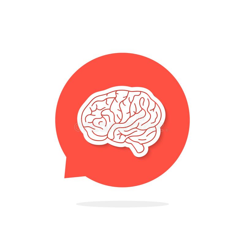 Red Speech Bubble With Brain And Shadow Stock Vector - Illustration ...