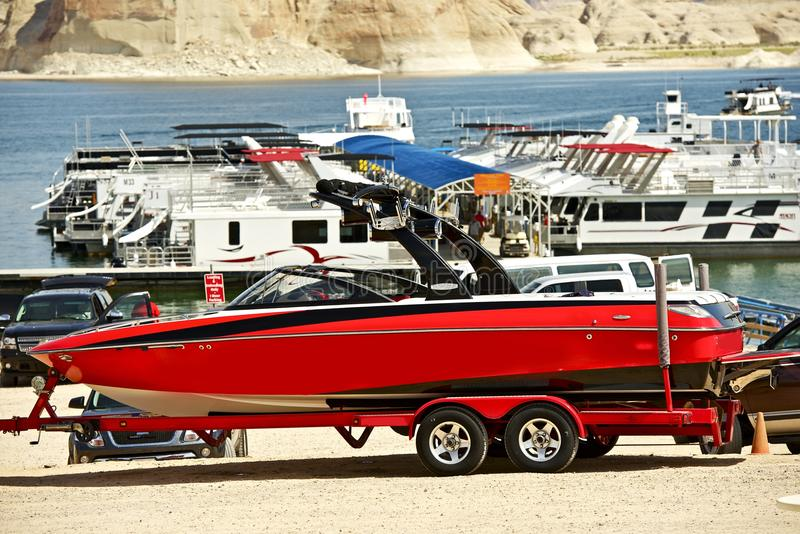 Red Speedboat on Trailer royalty free stock photos