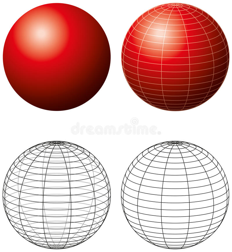Red Sphere With Meridians royalty free illustration