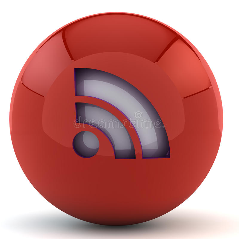 Free Red Sphere With RSS Sign Royalty Free Stock Photos - 18032448