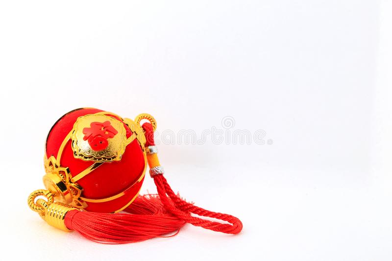 Red spherical shape lantern for Chinese New Year decoration over white background royalty free stock images