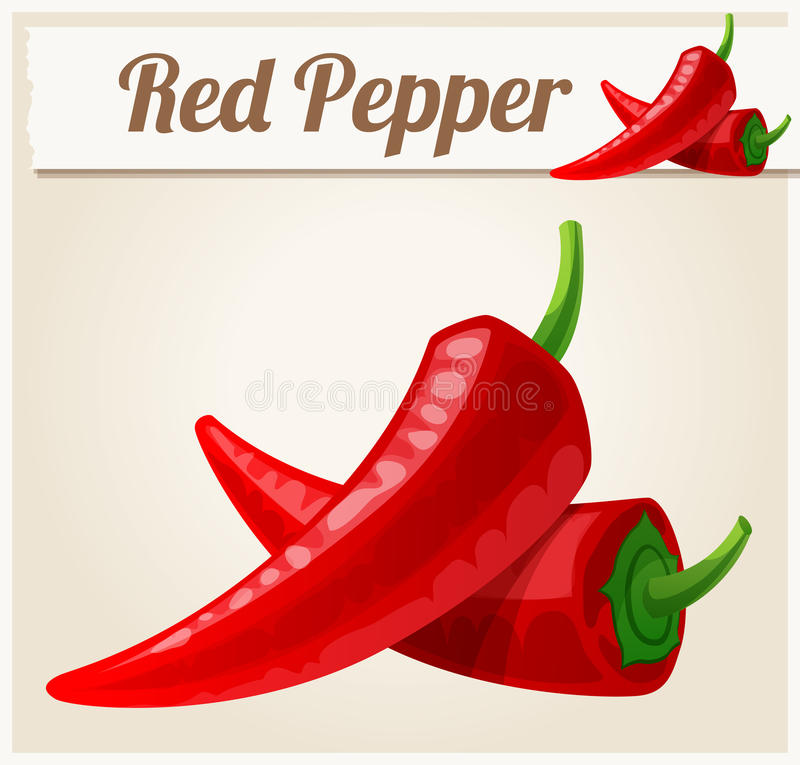 Red Spicy Peppers. Detailed Vector Icon. Series of food and drink and ingredients for cooking royalty free illustration