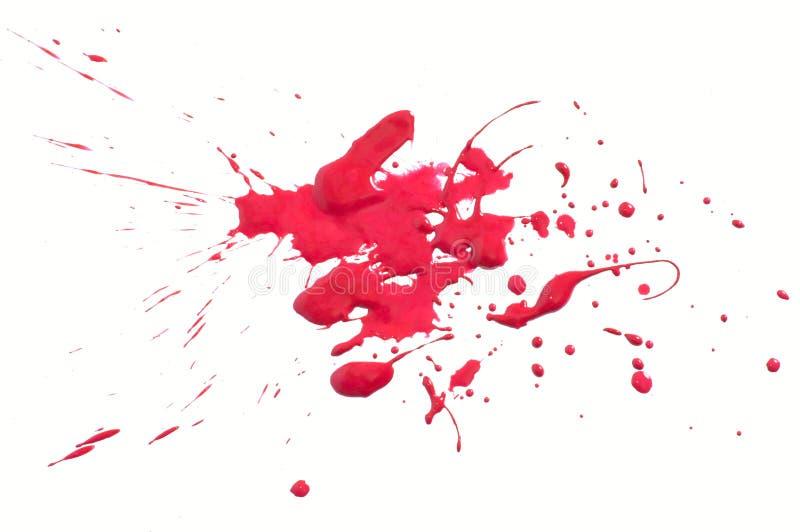 Red splash. Splash of gouache paint on white background stock photo