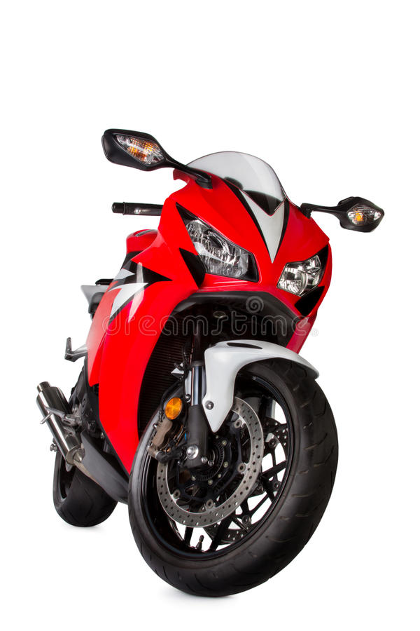 Red sport bike royalty free stock images