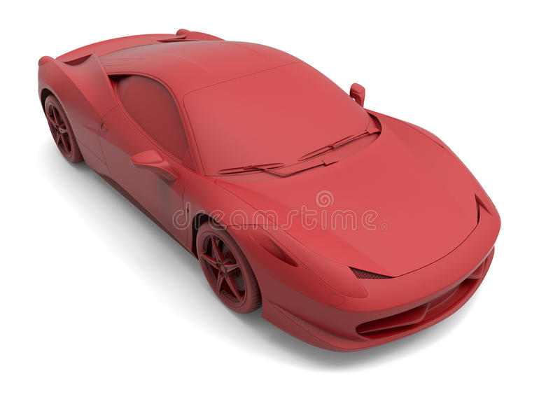 Red sport car. 3D illustration of a red sport car on a white background with shadows royalty free illustration