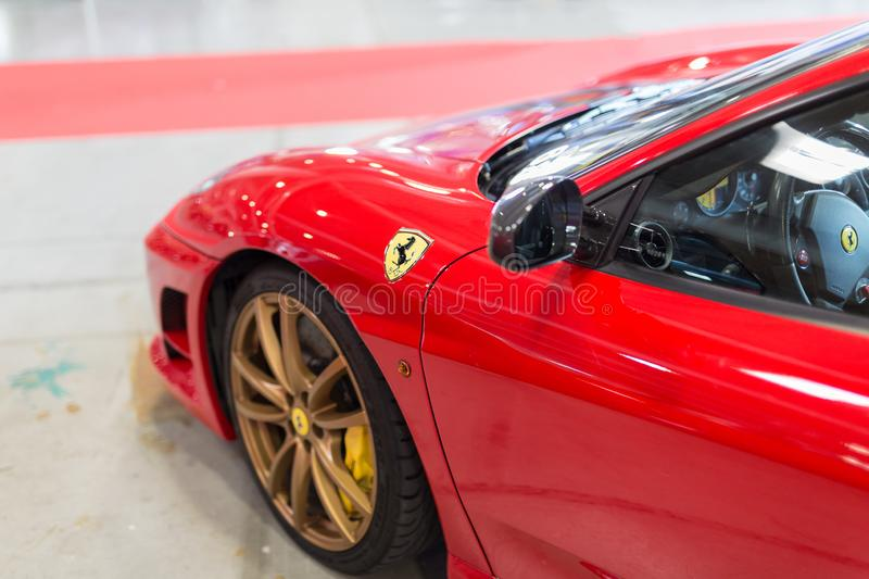 Red Sport Car Ferrari Detail: Driver s Side.  stock photos