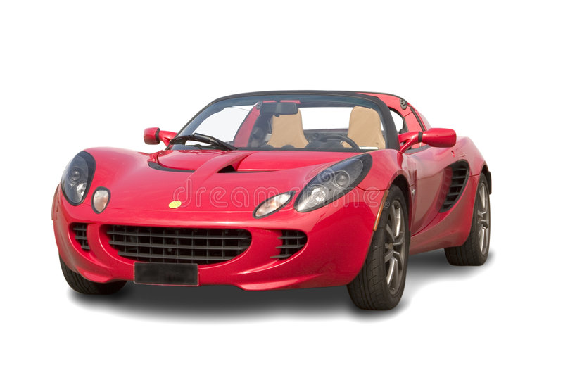 Red sport car isolated stock photo
