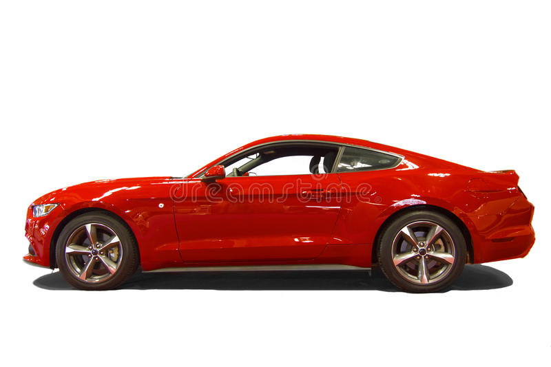 Red sport car. Isolated over white background royalty free stock images