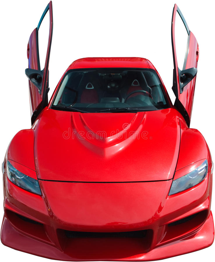 Red sport car isolated on white royalty free stock photography