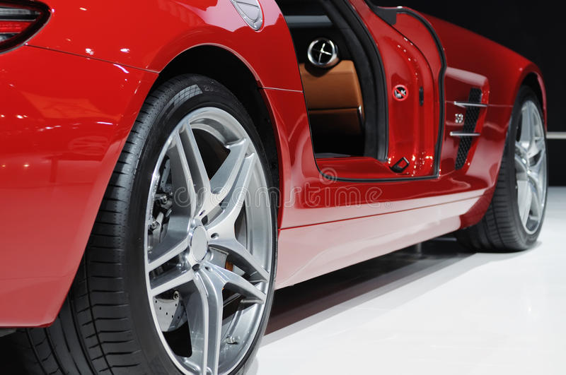 Red sport car wheel. Mercedes benz sls amg car wheel, Road to China's West - 13th Chengdu Motor Show,September 18th-24th,2010 royalty free stock images