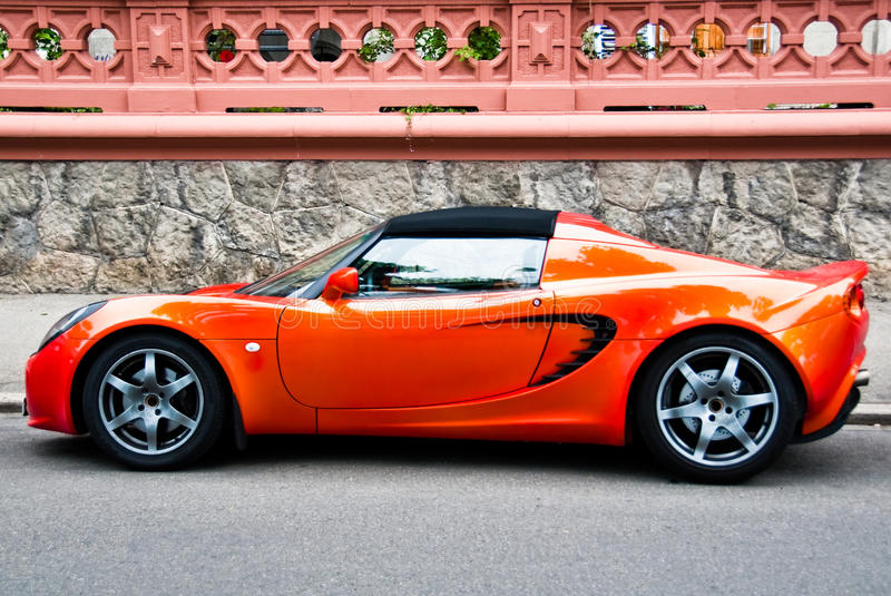 Red sports car stock photography