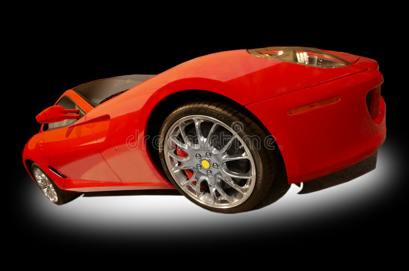 Red sports car. On a black and white background stock photography