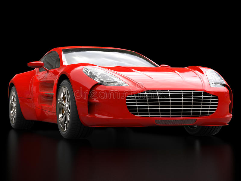Red sports car - closeup shot - isolated on black background royalty free stock photos