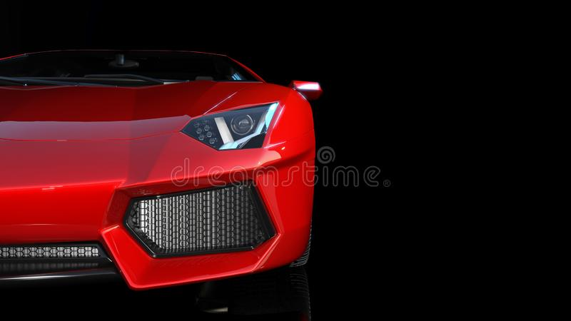 Red sports car, front end and headlights of a sport automobile, race car isolated on black background, 3D render vector illustration