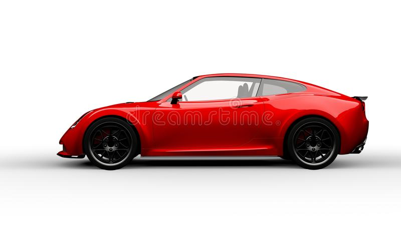 Red sports car isolated on white royalty free illustration