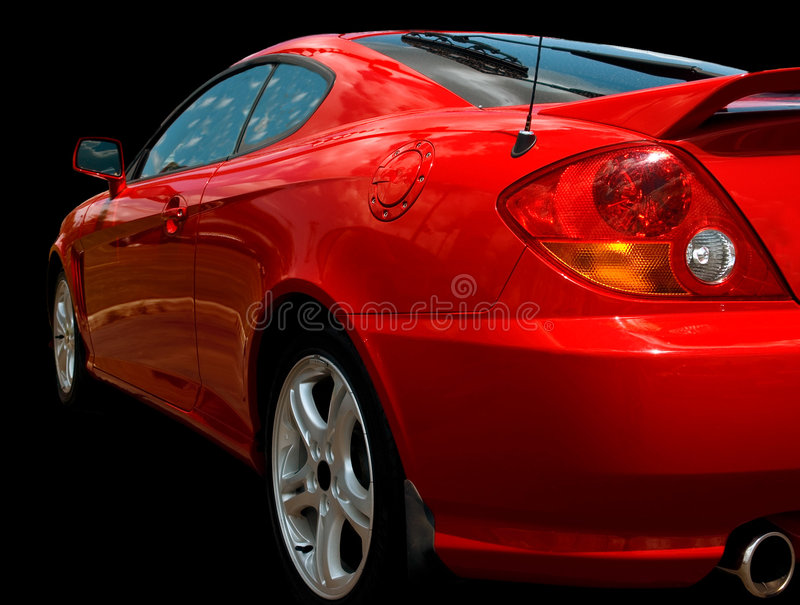 Red sports car over black royalty free stock photo