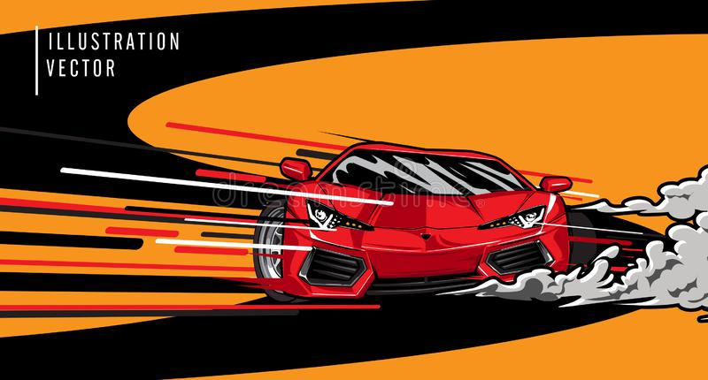 Red sports car on the road. Modern and fast vehicle racing. Super design concept of luxury automobile. Vector illustration royalty free illustration