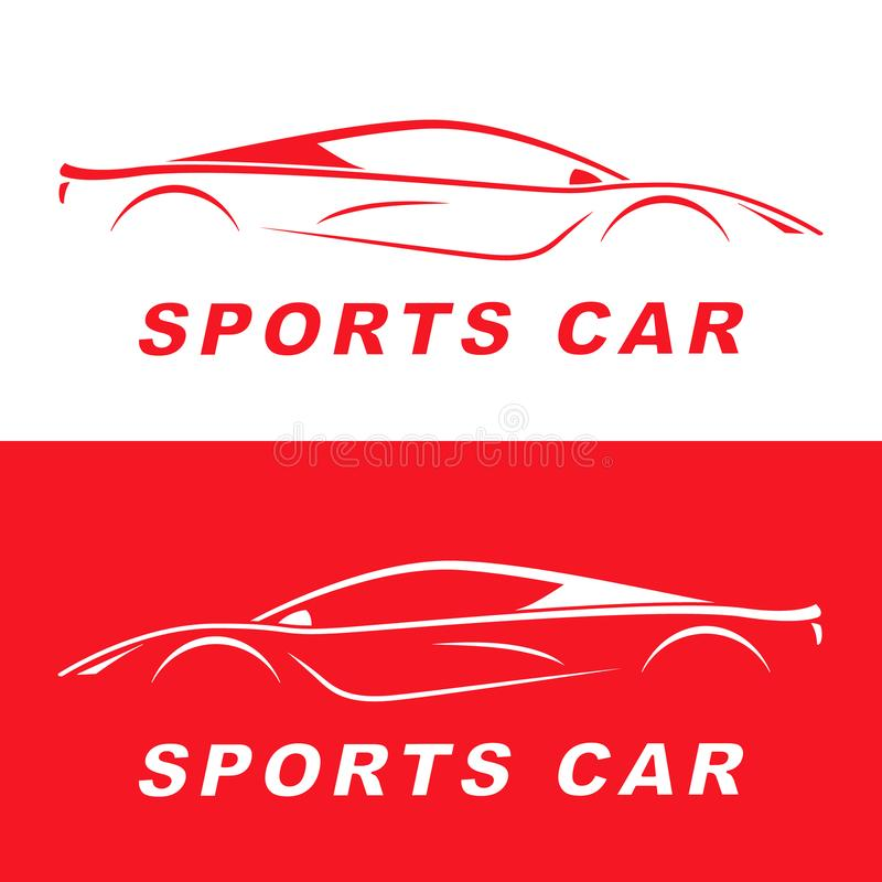 Red Sports Car silhouette. Logo design. royalty free illustration