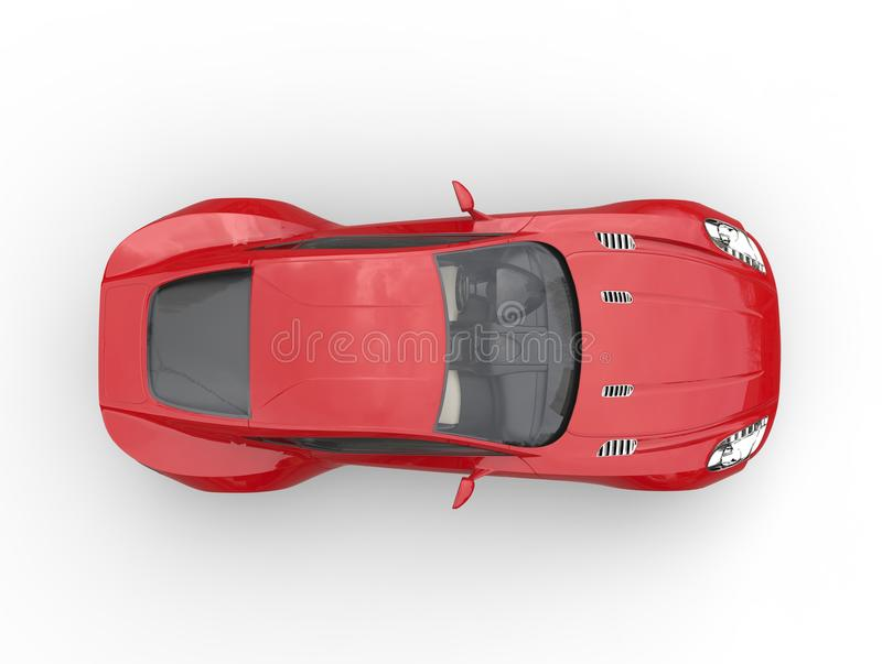 Red sports car - top view. Isolated on white background royalty free stock images
