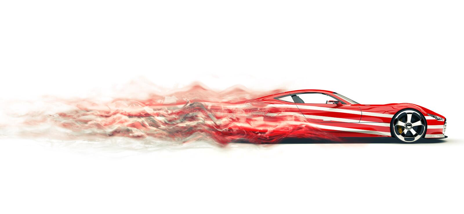 Red sports car with white stripes - smoke trail effect royalty free illustration