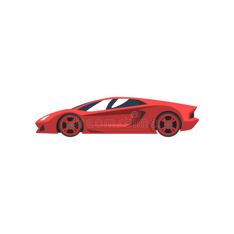 Red sports racing car, supercar, side view vector Illustration on a white background royalty free illustration