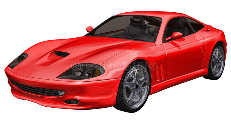 Red sports toy car. 3D render of a red sports toy car royalty free illustration
