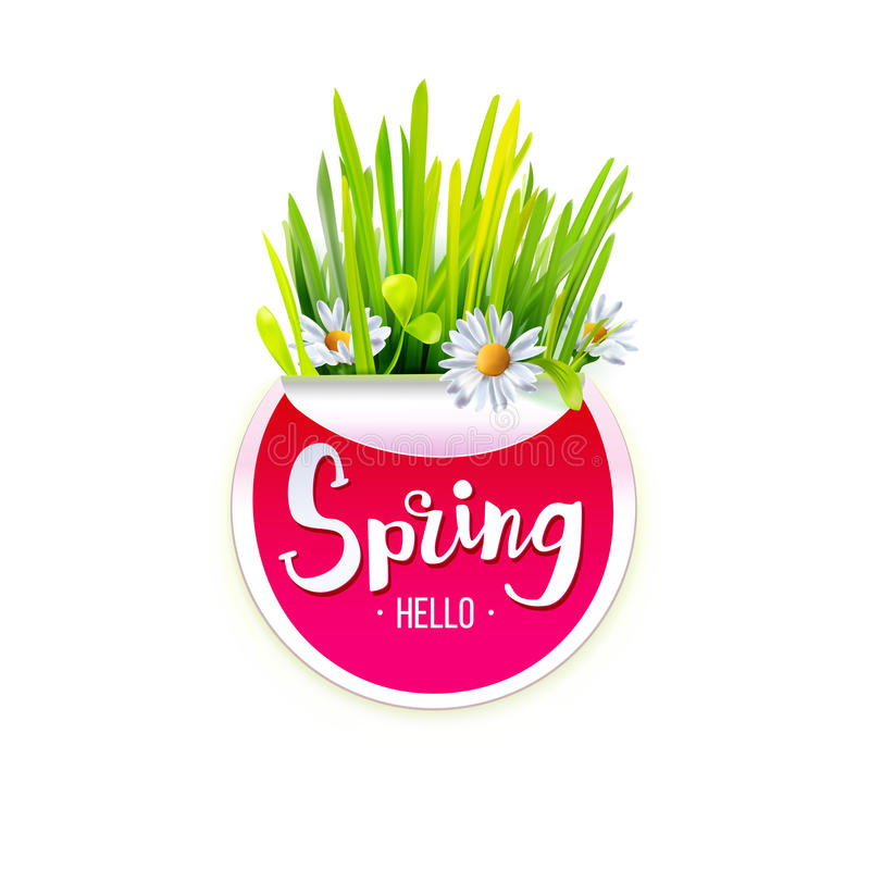 Red Spring label stock illustration