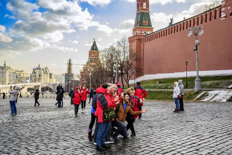 Red Square, autumn. Photos on the memory of tourists and travelers in a great mood. Moscow, Russia. Red Square, autumn. Photos on the memory of tourists and royalty free stock images